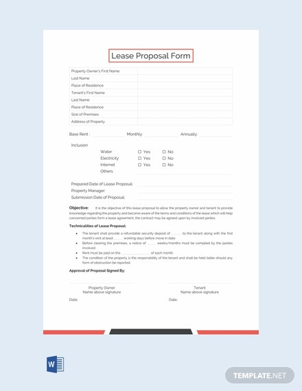 Free Lease Proposal Form Template