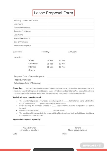 Lease Proposal Form Template