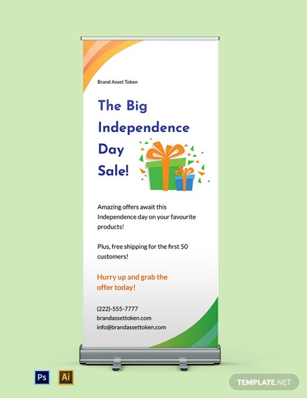 Free Independence Day Roll Up Banner Template