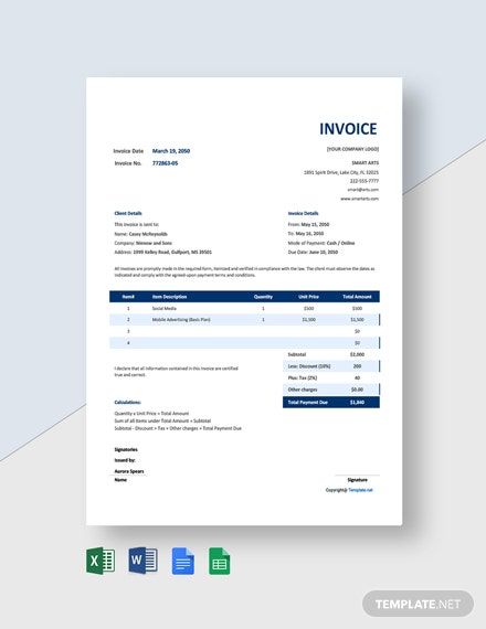 Free Blank Agency Invoice Template