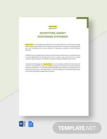 Advertising Agency Positioning Statement Template