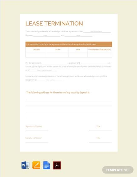 Free Lease Termination Template