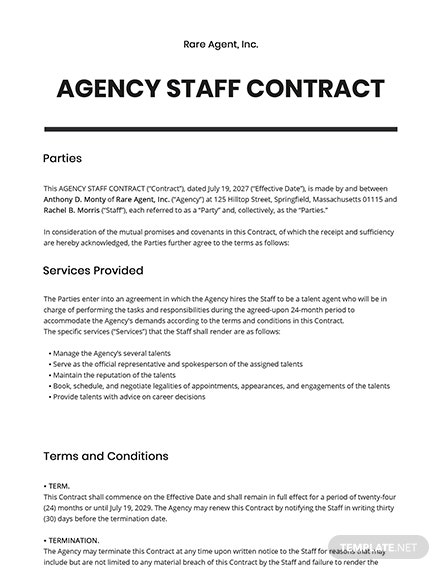 Agency Staff Contract Template