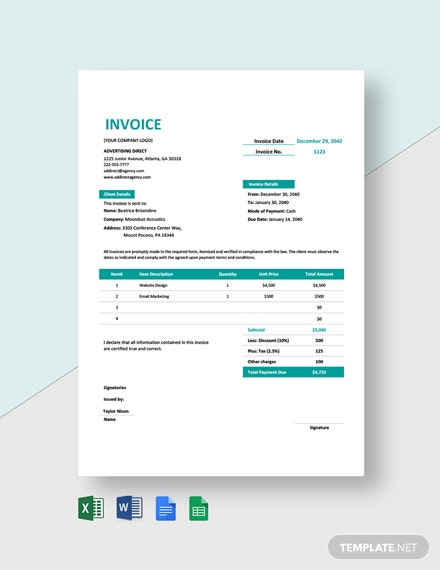 Professional Agency Invoice Template