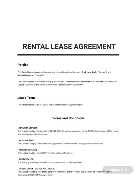 Free Rental Lease Agreement Sample