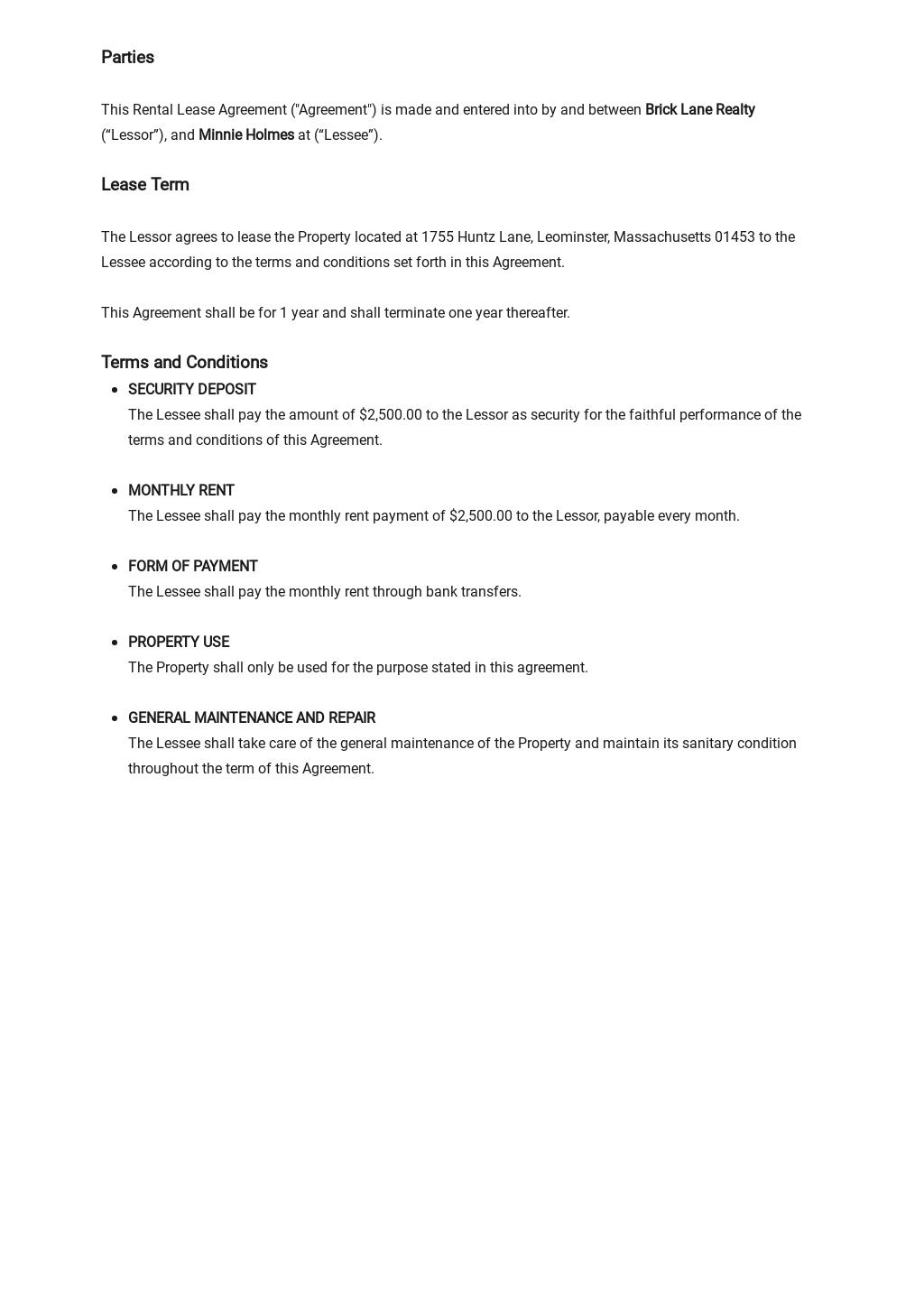 Rental Lease Agreement  [Free PDF] - Google Docs, Word, Apple Pages, PDF