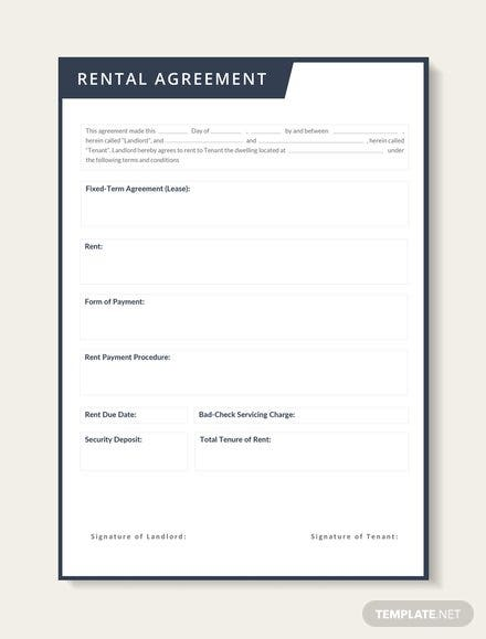 Rental Lease Agreement Template Download 13 Contracts In Word
