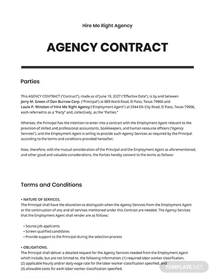 Free Agency Contract Template