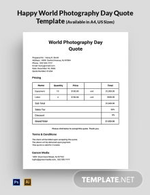 Happy World Photography Day Quote Template