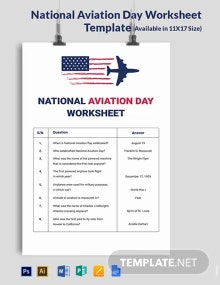 Free National Aviation Day Worksheet Template