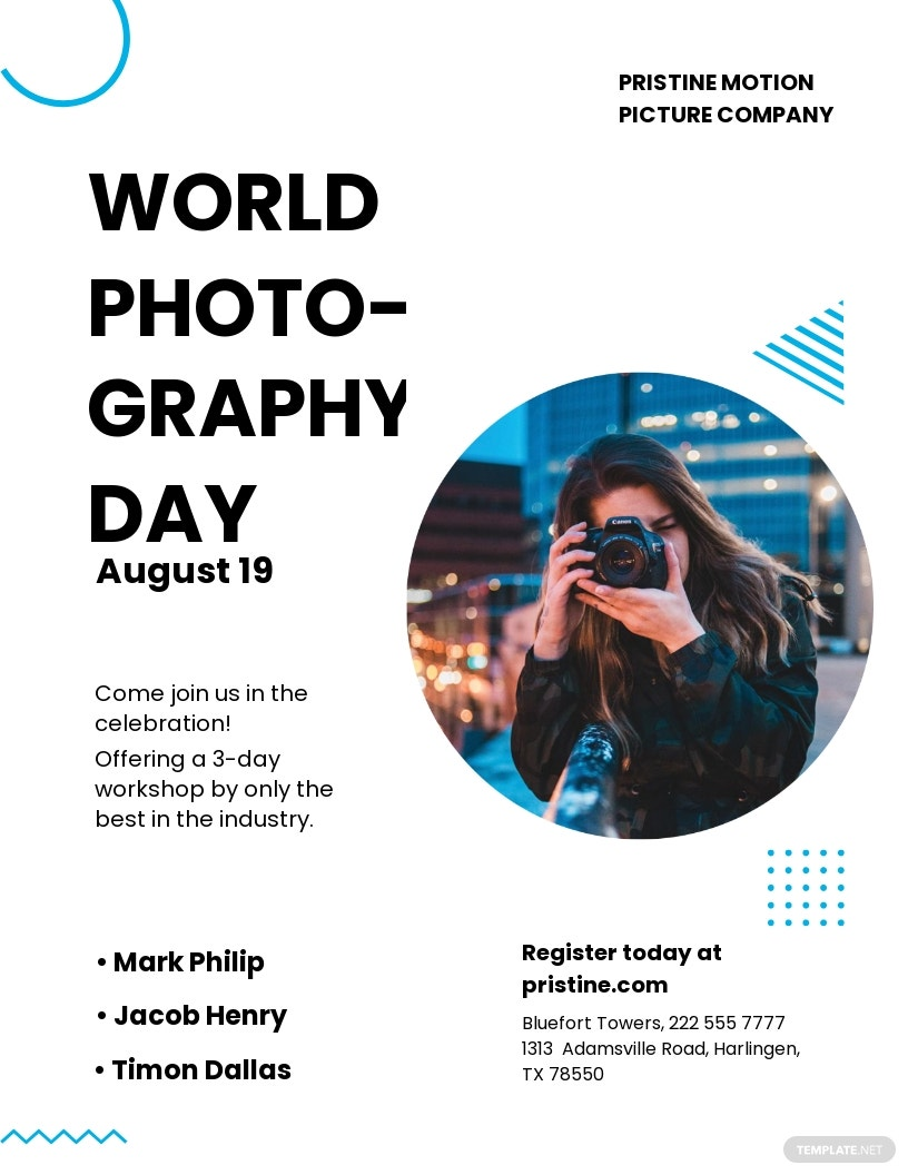 Free World Photography Day Leaflet Template.jpe