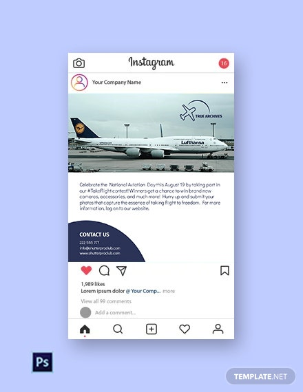 Free National Aviation Day Social Media Post Template