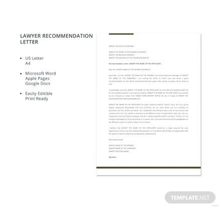 Free Lawyer Recommendation Letter Template