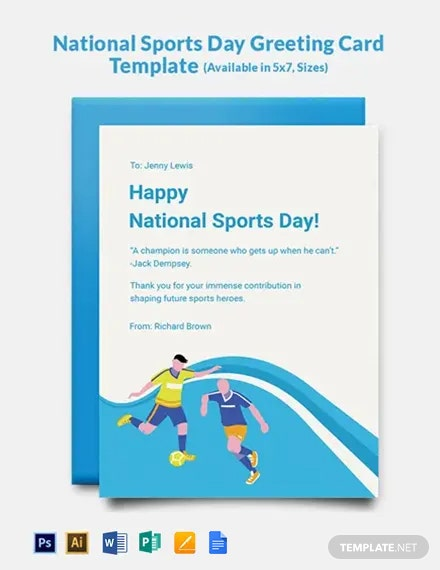 National Sports Day Greeting Card Template
