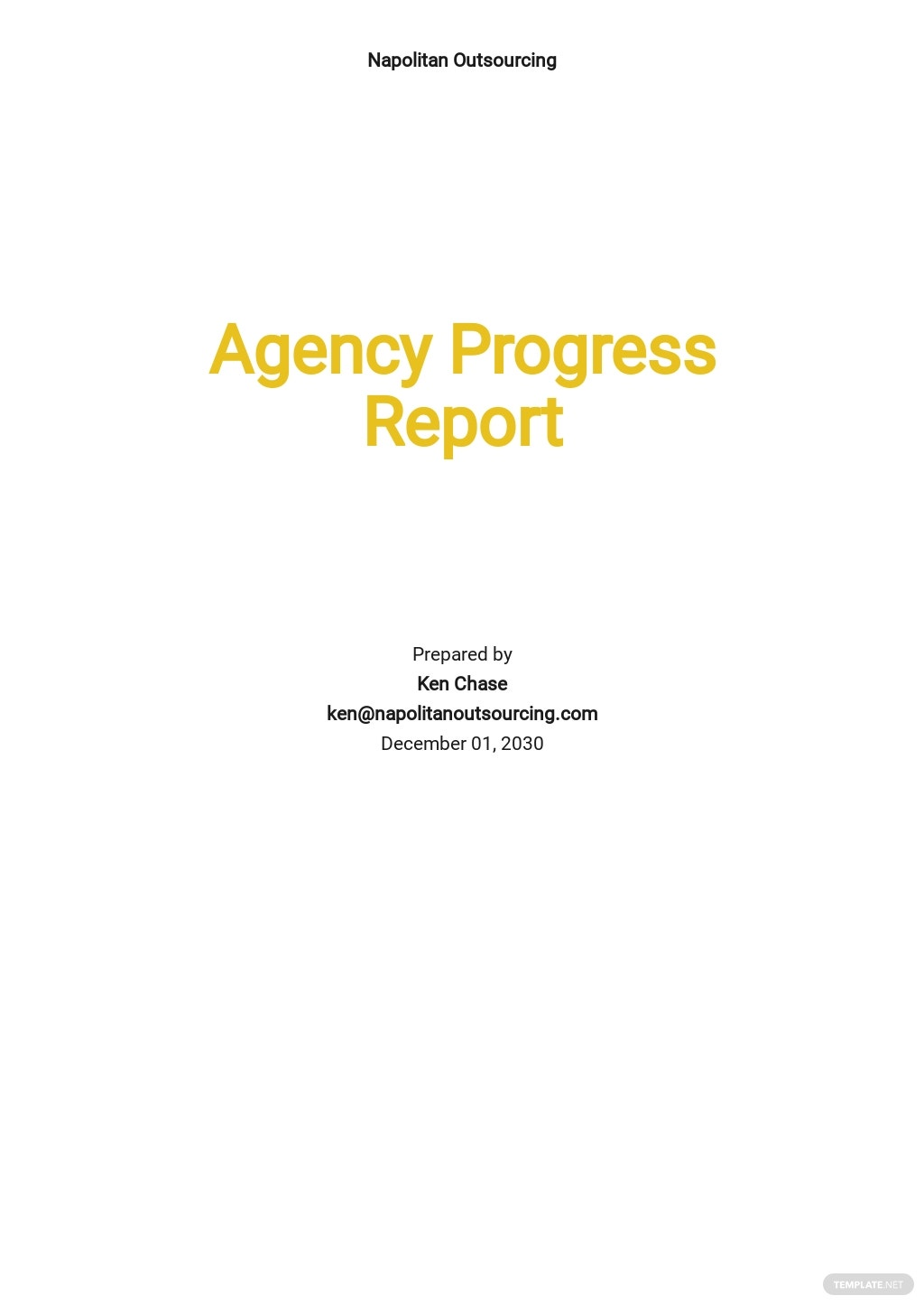 Agency Progress Report Template