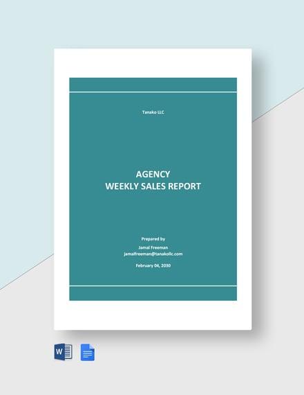 Agency Weekly Sales Report Template