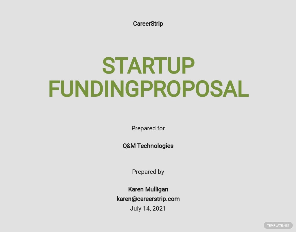 Editable Startup Funding Proposal Template