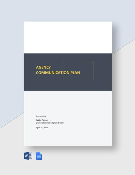 Agency Communication Plan Template