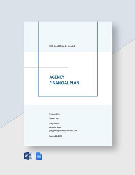 Agency Financial Plan Template