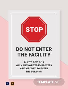 Do Not Enter The Facility Due to COVID-19 Sign Template