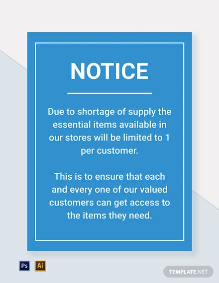 Notice: Essential Items Limited 1 Per Customer Sign Template