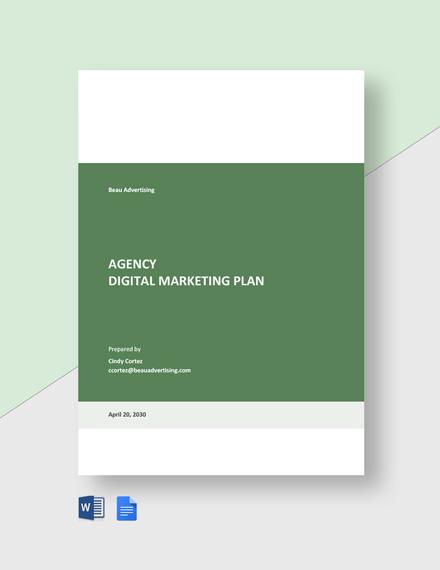 Agency Digital Marketing Plan Template