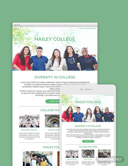 free college email newsletter template download 39 email