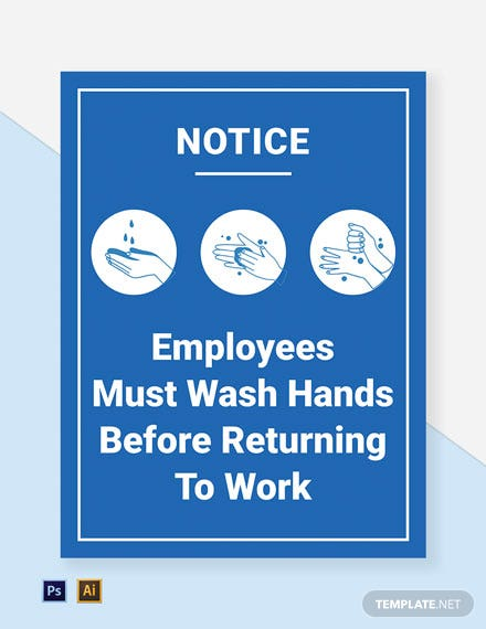 Employees Must Wash Hands Before Returning To Work - Safety Floor Sign Template