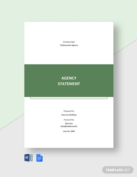 Free Sample Agency Statement Template