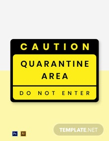 Caution Quarantine Area Label Template