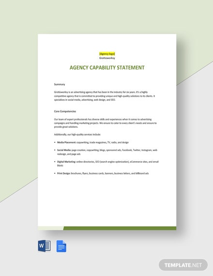 Agency Capability Statement Template