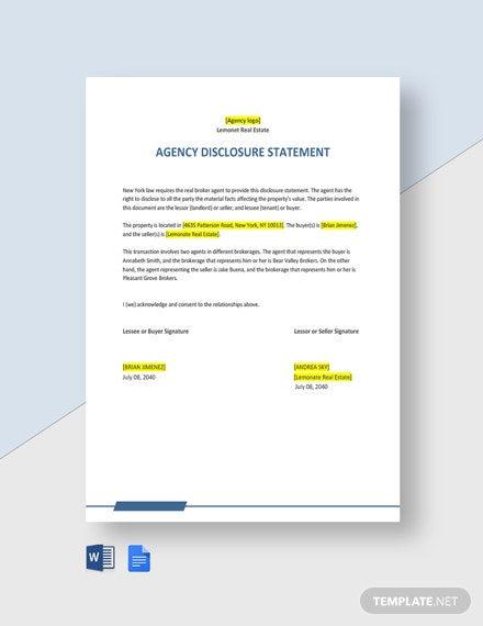 Agency Disclosure Statement Template