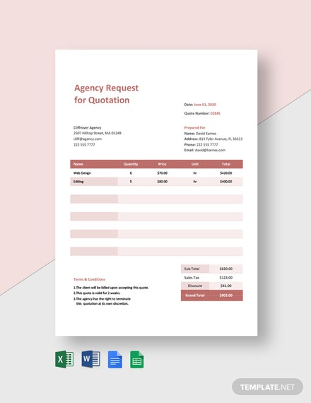 Agency Request for Quotation Template