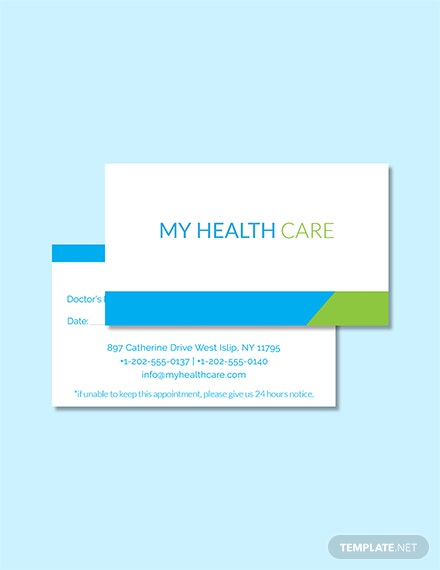 Free Health Care Appointment Card Template