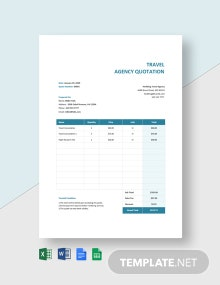 Editable Travel Agency Quotation Template