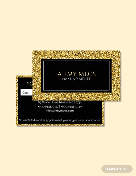 Free Makeup Artist Appointment Card Template