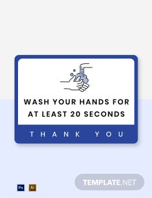 Wash Hands for 20 Seconds Label Template
