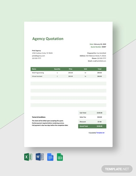 Agency Quotation Format Template