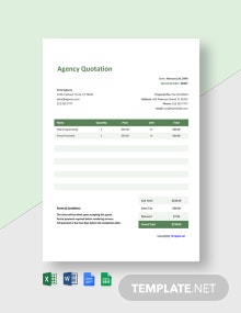 Free Agency Quotation Format Template