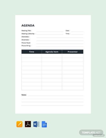 Free Example of Agenda Template