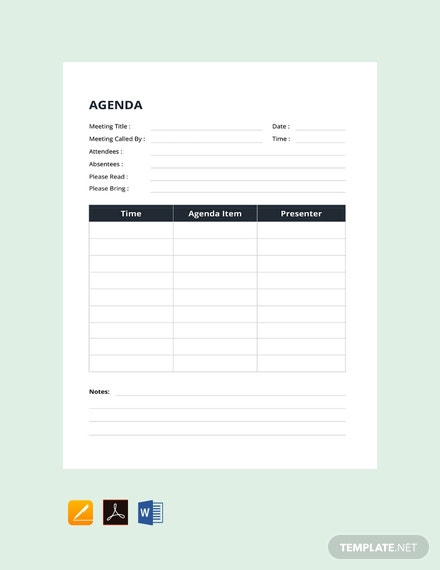 free example of agenda template 440x570 1
