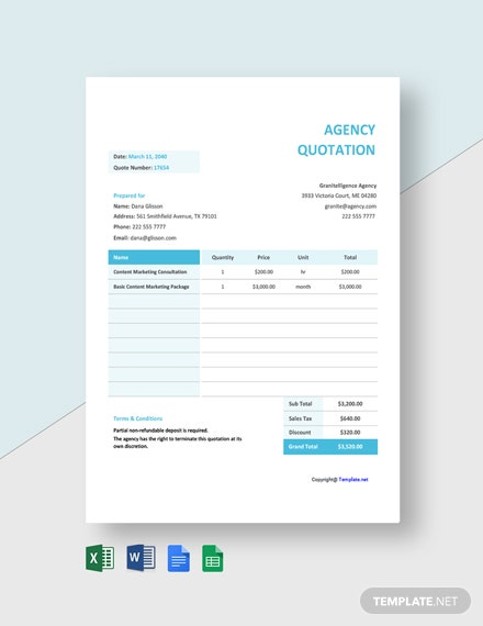 Agency Quotation Sample Template