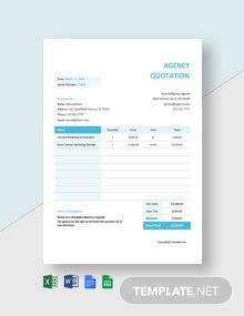 Free Agency Quotation Sample Template