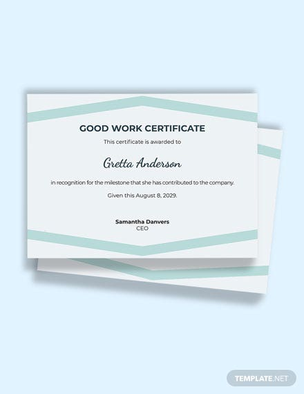 Free Good Work Certificate