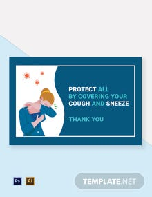 Cover Your Cough & Sneeze Protects All Label Template