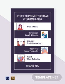 Steps to Prevent Spread of Germs Label Template