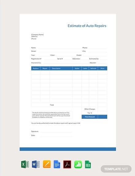 Free Auto Repair Estimate Template Pdf Word Doc Excel Apple Mac Pages Apple Numbers