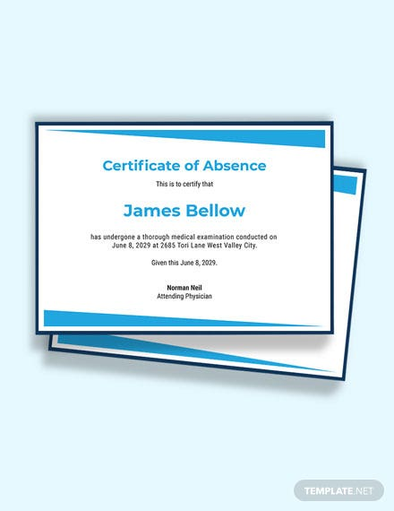 Free Absence from Work Certificate