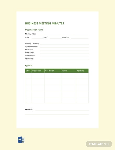 Free Business Meeting Minutes Template