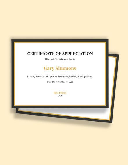 1st Year Work Anniversary Certificate Template